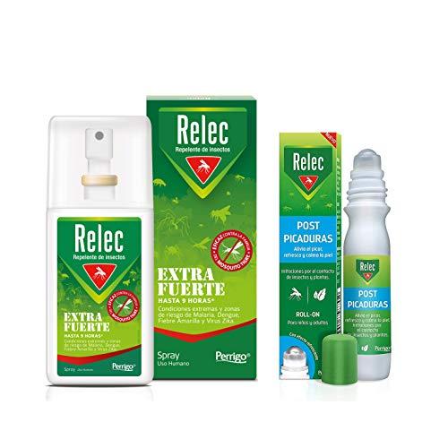Pack Ahorro antimosquitos Relec Extra Fuerte + Relec Post-Picaduras, Spray repelente de mosquitos, Con eficacia y protección contra el mosquito tigre, hasta 9h de protección contra el mosquito común