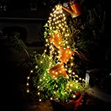 7.3ft 220 LED Bunch Lights,10 Strands Waterfall Lights Waterproof Christmas Vine String Lights for Room Outdoor Indoor Tree Decoration Wedding Party Holiday, Copper Wire Fairy Lights With Remote Timer
