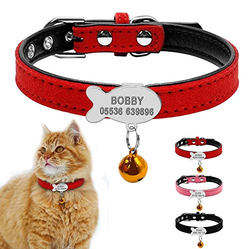 AEAP Customized Soft Padded Dog Collar Personalized Cat ID Tag Free Engraving Name Phone No. Gift Bell for Puppy Dogs Cats Pink