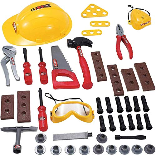 Liberty Imports Little Handyman Repair Toy Tool Set Pretend Play Construction with Hard Hat  Nuts  Bolts and Safety Accessories Set - Realistic Plastic Kids Children Playset (52 Piece Set)