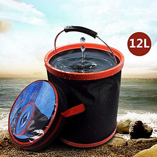 BEESCLOVER 12L extérieure de Grande capacité Camping Pêche Portable Pliable Seau d'eau Outil de Stockage Auto Noir 250 * 250 * 275