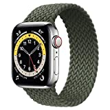 WAAILU Solo Loop Braided Band Woven Compatible for Apple Watch SE Series 6 40mm 44mm Compatible for Iwatch 5/4/3/2/1 38mm 42mm-(Deep Green-42/44-8)
