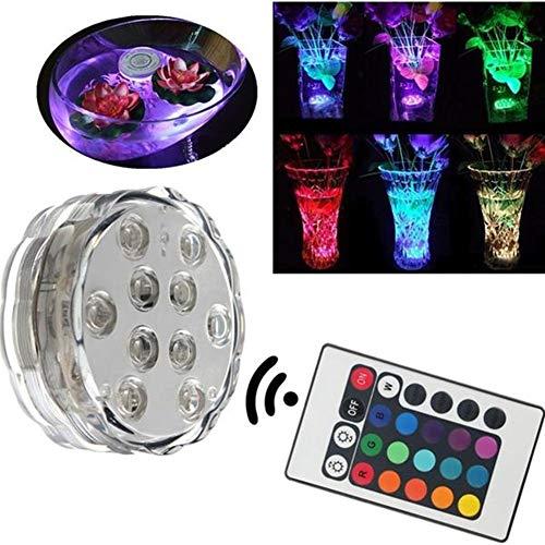 Dekorative Leuchten 10 LED RGB Fernbedienung Nachtlicht Submersible Weihnachtsfest-Vase Basis-Lichtwasserdichte Garten im Innenhof