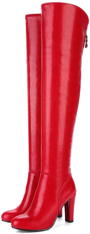 Stövlar med hövdat knä för kvinnor, Tjock med springaaadat huvud huvud huvud Zipper höga stövlar Vattensäker plattform Artificiell PU Thigh Elastiska Stövlar Icke -Slip Comfort skor  bästa erbjudande