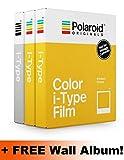 Polaroid Originals i-Type Core Film - Juego de Triple película (2 Colores, 1 B & W) + álbum de Fotos para Pared