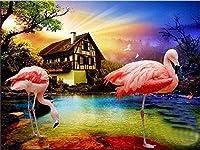 NC56 B 家の装飾アートのためのDIYデジタル絵画オイルペインティング子供と大人のためのデジタルDIYキャンバスオイルペイントかわいい赤い鳥40x50cm