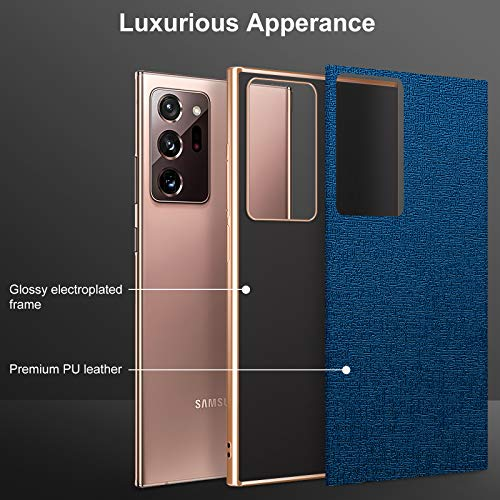 FulSoulComM Galaxy Note 20 Ultra Leather Case, Slim Luxury Elegant PU Leather with Electroplate Frame Soft Grip Flexible Full Body Protection Cover Cases for Samsung Galaxy Note 20 Ultra 5G 6.9''