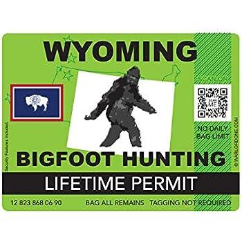 fagraphix Wyoming Bigfoot Hunting Permit Sticker Die Cut Decal Sasquatch Lifetime FA Vinyl - 4.00 Wide