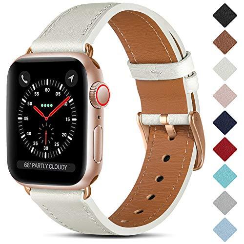 CeMiKa Correa de Cuero Compatible con Apple Watch Correa 38mm 40mm 42mm 44mm, Correas de Repuesto de Cuero Genuino Compatible con iWatch SE/Series 6 5 4 3 2 1, 42mm/44mm, Blanco/Oro Rosa