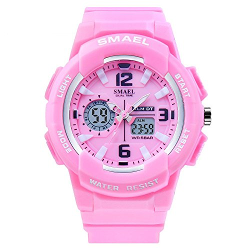 SMAEL Women's Sport Wrist Watch Quartz Dual Movement with Analog-Digital Display Watches for Women (Pink)