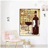 IGZAKER Copas de Vino Tinto Botella Cita Impresión de póster Cocina Moderna Pintura al óleo sobre Lienzo Arte de la Pared Pintura Bar Comedor Decoración / 60x80cmsin Marco