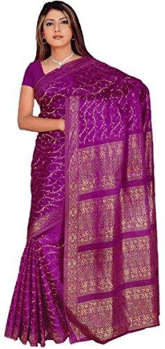 Trendofindia Indischer Bollywood Fashion Sari Stoff Damenkostüm Kleid Lila CA102