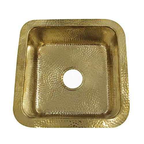 Handgemaakte keukengootsteen met hamer - massief glanzend messing / vierkant / 16 5/8 x 16 5/8 inch / onderbouw of overmount / luxe / premium door nantucket wastafels