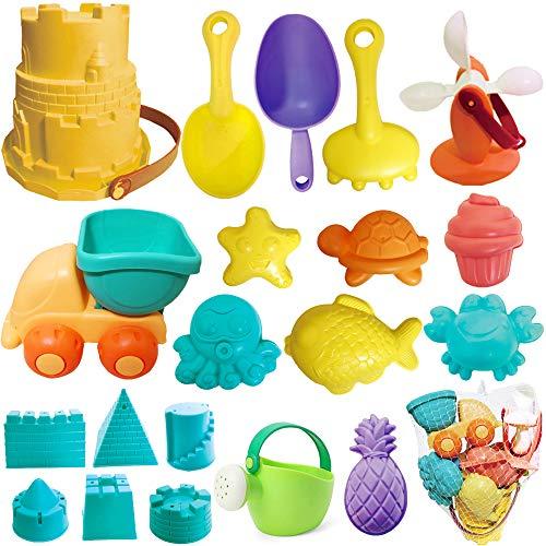 Beach Sand Toys Set, 20pcs Sandbox Toys with Sand Water Wheel, Sandbox Vehicle, Beach Bucket, Sand Molds, Sand Shovel Tool Kits, Outdoor Beach Sand Toys for Boys, Girls,Toddlers, Kids