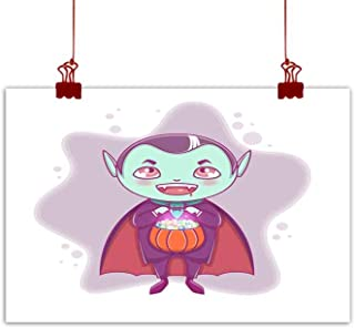 Mannwarehouse Abstract Painting Halloween Little Vampire Dracula Boy Kid with Smiling face in Halloween Costume with Pumpkin in his Hands Natural Art 24