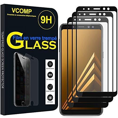 """annaPrime® Lot 3 Films Verre Trempé de Protection d'écran pour Samsung Galaxy A8 (2018) A530F 5.6""""/ A8 (2018) Duos A530F/DS [Les Dimensions EXACTES du Telephone: 149.2 x 70.6 x 8.4 mm] - Noir"""