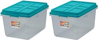 Single Unit 72-Quart Hefty Hi-Rise Clear Latch Box In Teal Sachet Lid and Handles (2 Pack)
