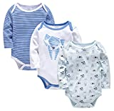 kavkas Baby Long Sleeve Onesies Infant Soft Cotton Bodysuit Undershirts 3 Pack Cute Vest for Boys and Girls (Dog Sets, 12-18M)