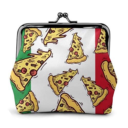 Pizza Slice Italien Flagge Italienische Lebensmittel Münzgeldbörse für Frauen Kleine tragbare Wechselbeutel Clutch Exquisite Schnalle Münze B
