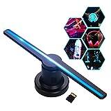 Moniel Projetor de holograma 3D Exibição de publicidade Ventilador de vídeo Foto Máquina de ar holográfica Player com 224pcs LED Grânulos de luz Suporte de controle remoto 16 GB Cartão TF para bares