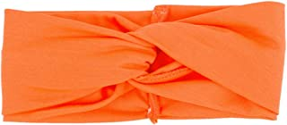 Women Headbands Headwrap Yoga Workout Sport Thick Head Bands Stretchy Hair Bands Solid Color (M, Orange)