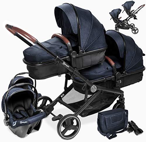 babyGO Kinderwagen 3 in 1 für Zwillinge - Geschwisterkinderwagen/Geschwisterwagen für Babys - Zwillingskinderwagen/Zwillingswagen für Kinder mit viel Zubehör (Grau Anthrazit Melange-mit 2x Babyschale)