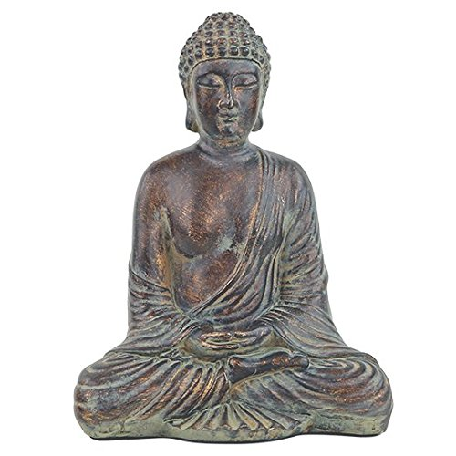 Statua Buddha Dhyana cm 16 x 10 x h. 20 cm 580 grammi serenità e meditazione Dhyanamudra