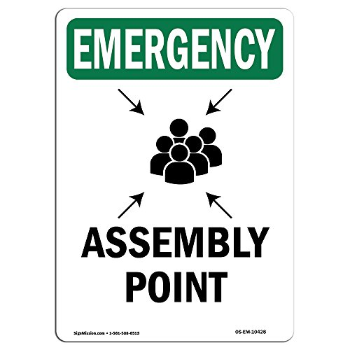 OSHA Emergency Sign - Assembly Point with Symbol | Vinyl Label Decal | Protect Your Business, Construction Site, Warehouse & Shop Area | Made in The USA