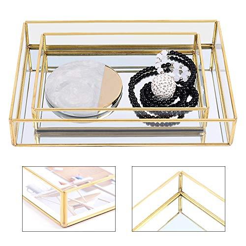 Bandeja de espejo rectangular para perfumes con bordes dorados, organizador de bandeja...