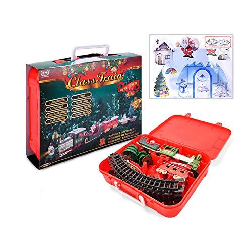 Xiangyin Juego de Trenes navideños, Tren de Juguete eléctrico Que Funciona con...