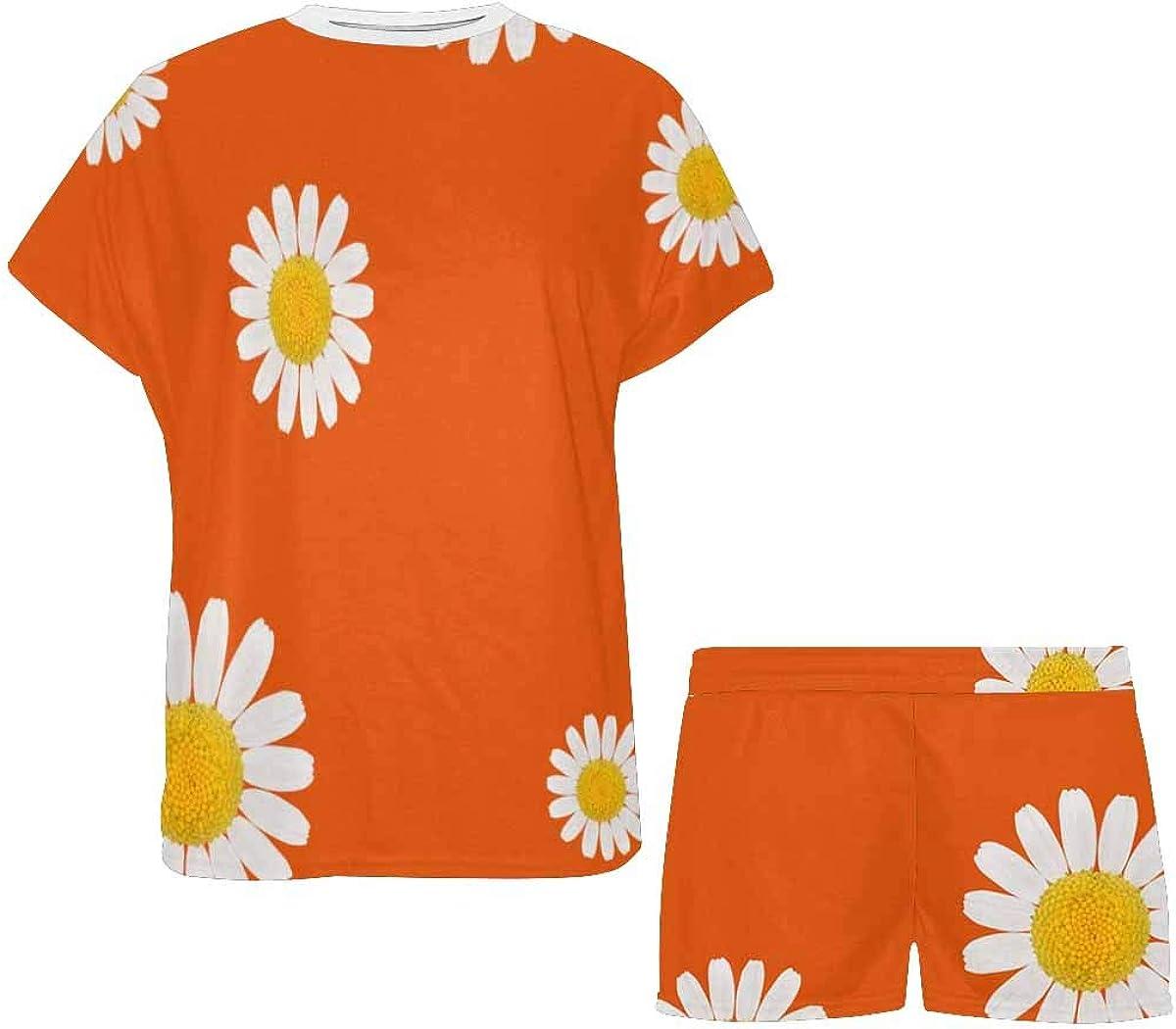InterestPrint Flowers Daisies Women's Pajamas Short Sets Round Neck Short Sleeve Sleepwear