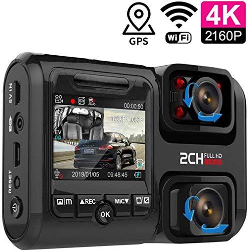Dvuboo Dashcam 4K WiFi GPS Auto Vorne Hinten, Dual Lens Autokamera mit Nachtsicht, 170° Weitwinkel, Parküberwachung, Bewegungserkennung und ADAS für Uber Truck Taxi,WiFi+GPS,withnocard