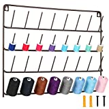 HAITARL 32-Spool Sewing Thread Rack, Wall-Mounted Metal Sewing Thread Holder with Hanging Tools, Metal Rack for Organize Sewing Thread, Embroidery-Suitable for Large Thread, Brown
