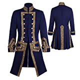 CosplayDiy Men's 18th Century Colonial Military Uniform Tailcoat Costume Medieval Victorian Men's Regency Outfit L