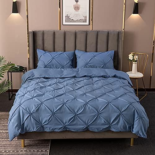 Bettbezug und Kissenbezu Deckenbezug Einfarbig Microfaser Bettdeckenbezug Bettwaesche Bettgarniture Bettwäsche-Set mit Quetschfalten (Blau, 135x200cm)