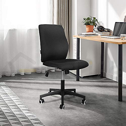 eclife Ergonomic Armless Office Chair, Home Task Office Chair, Drafting Stool,360 °Swivel Tilt Tension, Height Adjustable Low Back