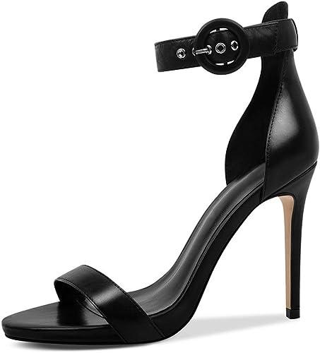 Sandales Femmes Sandales Sandales D'été Sandales à Bout Ouvert en Cuir Talons Aiguilles Parti Chaussures Noir, Talon 11cm (Couleur   noir, Taille   36)  offres de vente
