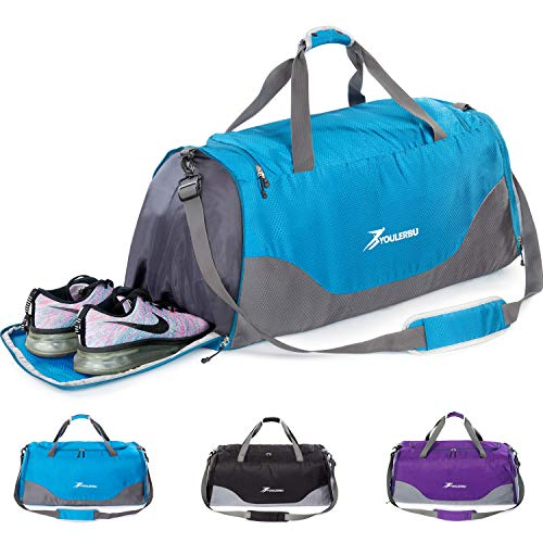 YOULERBU 70L Large Foldable Duffel Bag With Wet Pocket, Gym Bag With Shoes Compartment For Men & Women Blue