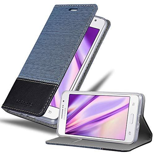 Cadorabo Custodia Libro per Samsung Galaxy GRAND PRIME in AZZURRO SCURO NERO - con Vani di Carte, Funzione Stand e Chiusura Magnetica - Portafoglio Cover Case Wallet Book Etui Protezione