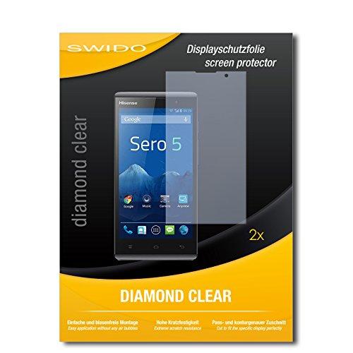 SWIDO 2 x Bildschirmschutzfolie Hisense Sero 5 Schutzfolie Folie DiamondClear unsichtbar