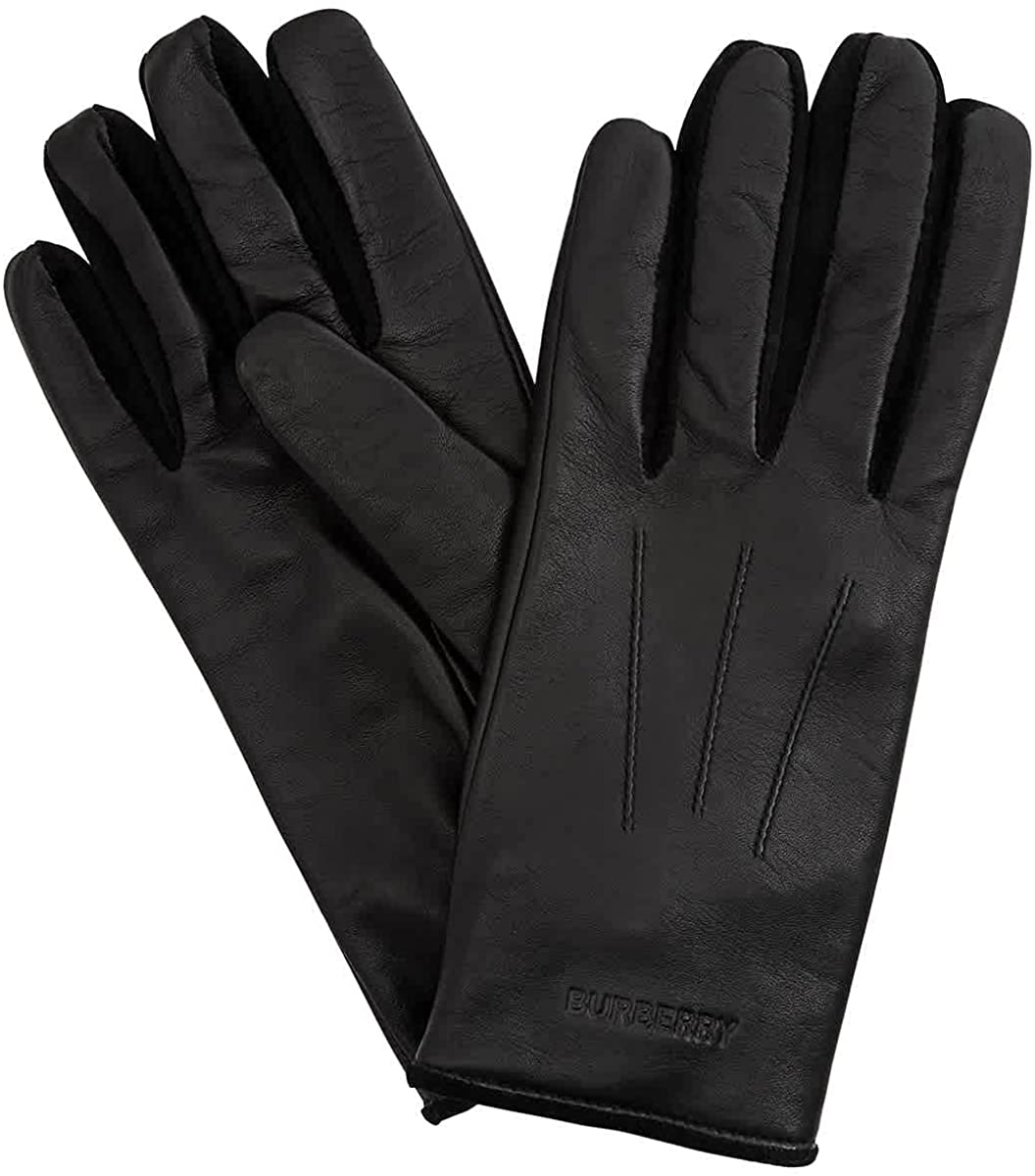 Burberry Embossed Austin Mall Logo Cashmere-lined Brand Gloves OFFicial store Lambskin Siz