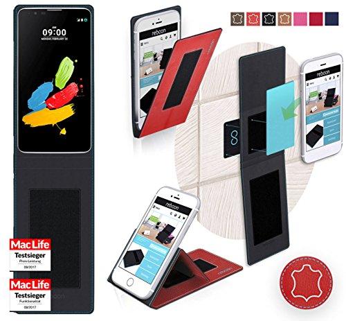 reboon Hülle für LG Stylus 2 (DAB+) Tasche Cover Case Bumper   Rot Leder   Testsieger