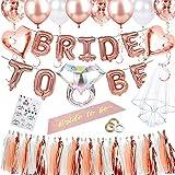 Yojoloin 65pcs Despedida de Soltera Bride To Be Set de Globos de Decoraciones de Fiesta Globos de Confeti de Oro Rosa Globos de Letras Velo Etiqueta Engomada del Tatuaje para La Boda