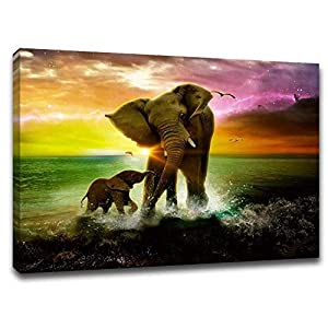 """Yumeart Wall Art for Living Room Canvas Prints Elephat Mother and Baby Artwork Bathroom Wall Décor Modern Artwork Wrapped Wood Stretcher - Ready to Hang 12"""" x 16"""""""