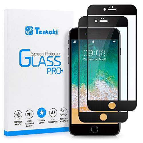 Tentoki Vetro Temperato per iPhone 6 Plus/iPhone 6s Plus, [2 Pezzi] Copertura Completa Pellicola Protettiva Protezione Schermo per iPhone 6/6s Plus, 9H Durezza, Nessuna Bolla - Nero