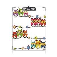 印刷者 クリップボード 用箋挟 クロス貼 A4 短辺とじ 子供 ファイルボード (2個)かわいい怒っている面白いフクロウ目花枝の鳥の装飾の上に座って目装飾