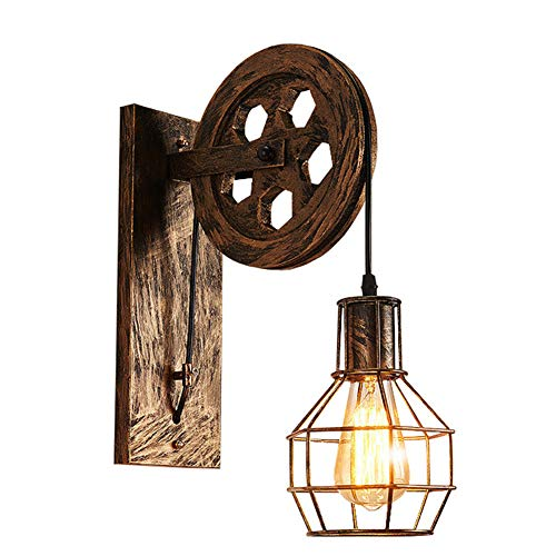 Cicony Aplique de pared de hierro industrial retro luz de polea de pared para iluminación interior, restaurante de granja