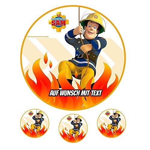 Tortenaufleger Geburtstag Tortenbild Zuckerbild Oblate Motiv: Feuerwehrmann Sam 21 (Zuckerpapier)