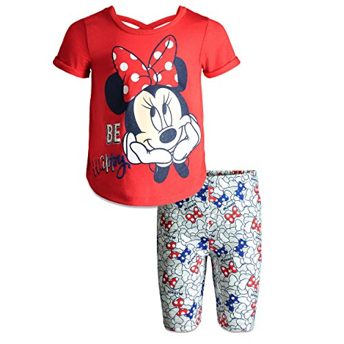 Disney Minnie Mouse Baby Infant Girls' High-Low Tunic & Bike Shorts Set (Bright Red, 12 Months)