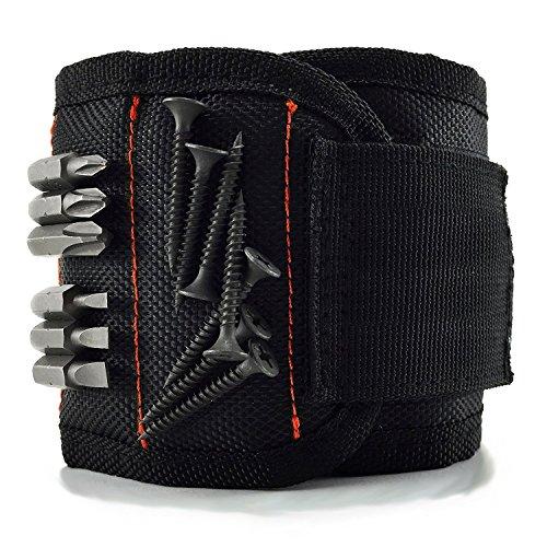Preisvergleich Produktbild Qhui Magnetische Armbänder mit 10 kraftvollen Magneten,  Herren Magnetarmband Werkzeug zum Halten von Werkzeug,  Schrauben,  Bohrer und Nägel,  Werkzeug Vatertag Geschenk für Männer,  Vatertagsgeschenk
